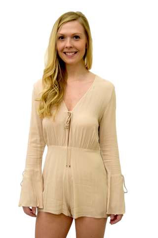 A ROMP IN THE PARK BEIGE ROMPER