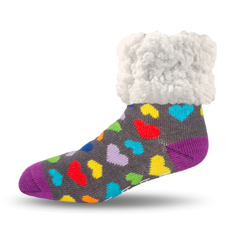 PUDUS SLIPPER SOCKS: MULTI COLORED HEARTS
