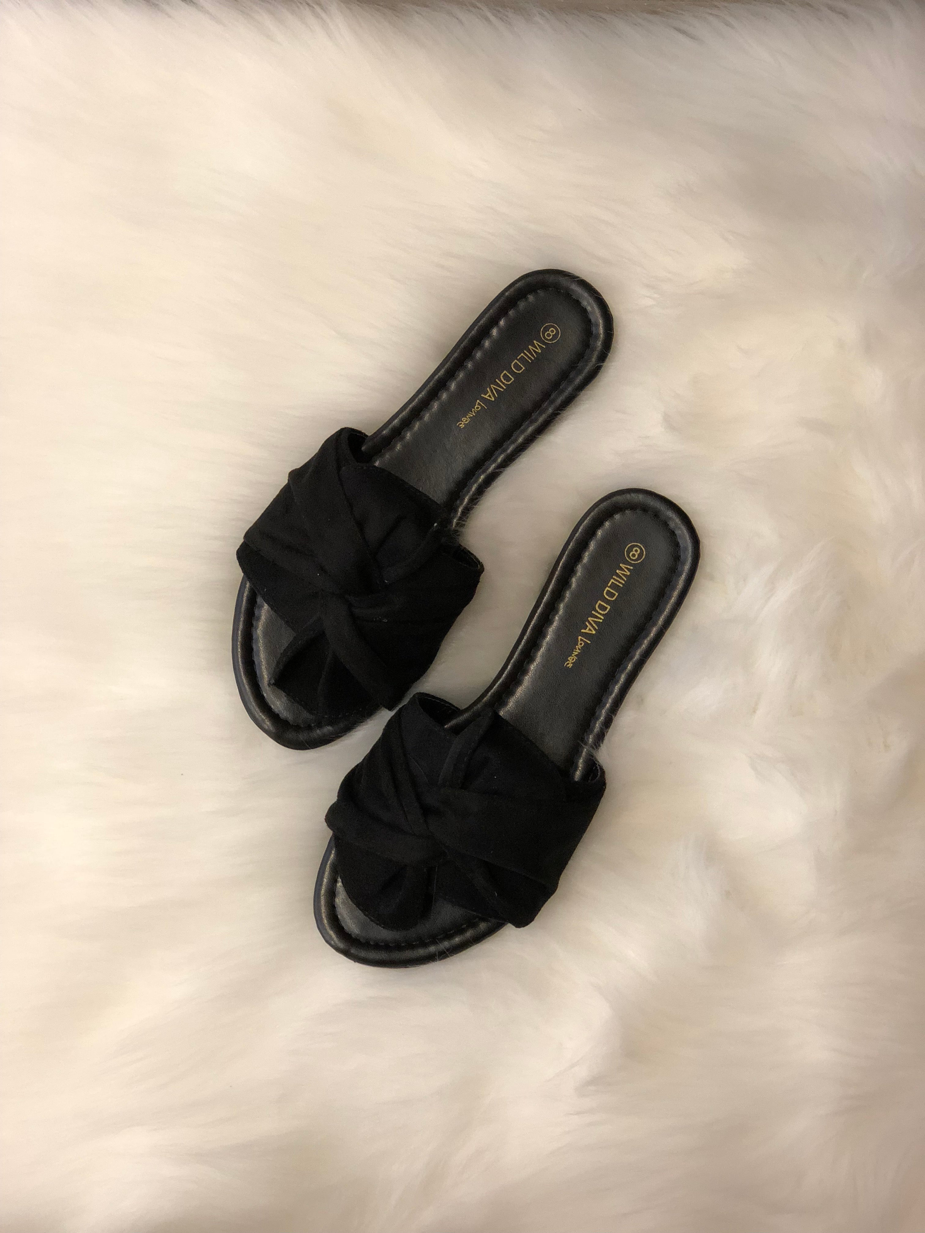 KNOTTY AND NICE BLACK SLIDE SANDALS