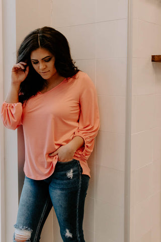 CORAL-LY YOURS LONG SLEEVE TOP