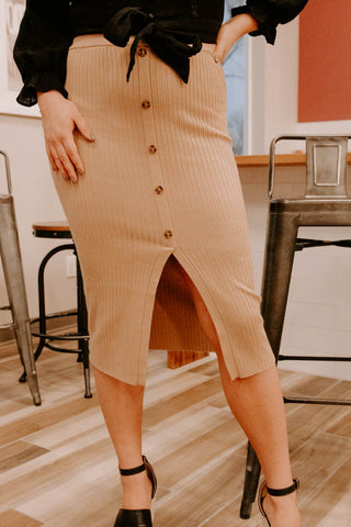 THIS MEANS BUSINESS KHAKI RIBBED SKIRT