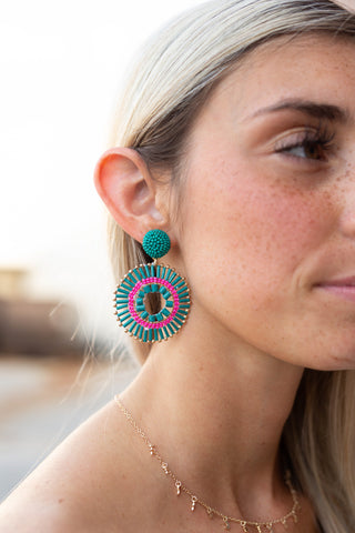 BOUND TO WOW TEAL BOHO EARRINGS