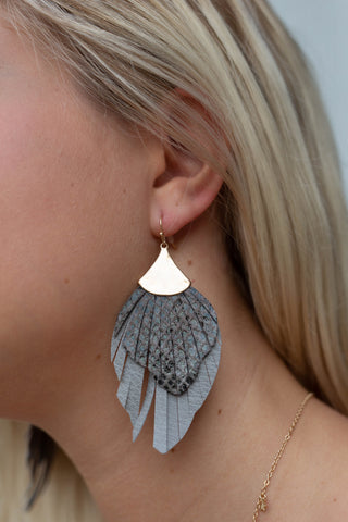 RENDEZVOUS GRAY FAUX LEATHER EARRINGS