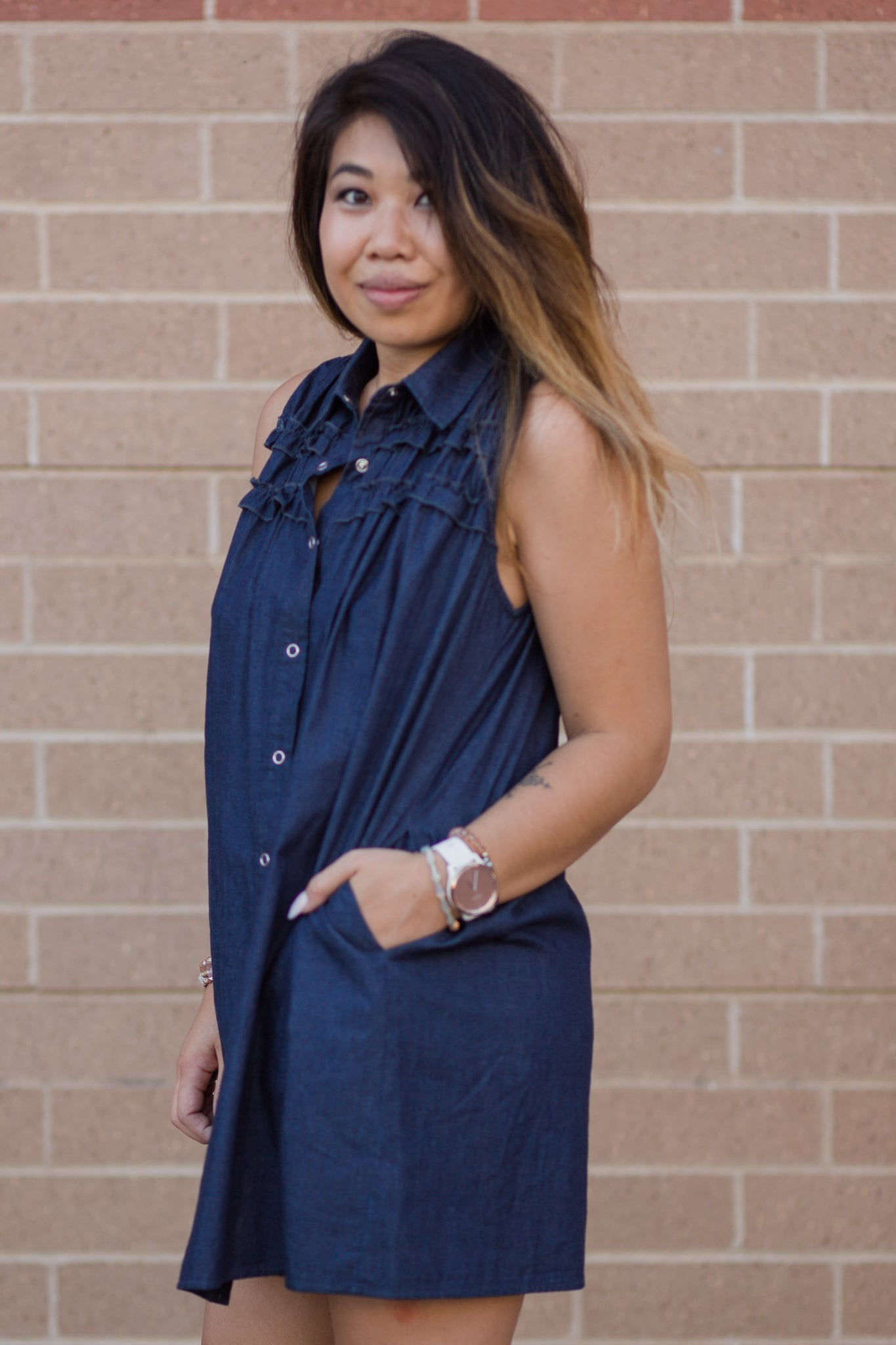 KEEP THINGS CASUAL CHAMBRAY DRESS