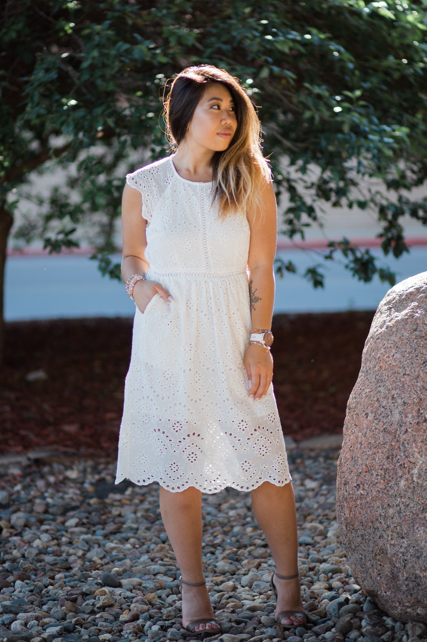 FOR ETERNITY WHITE EYELET DRESS