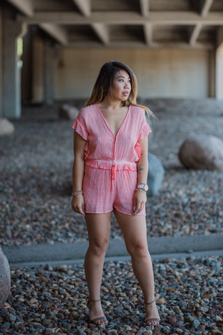 BRIGHTEN UP CORAL ROMPER