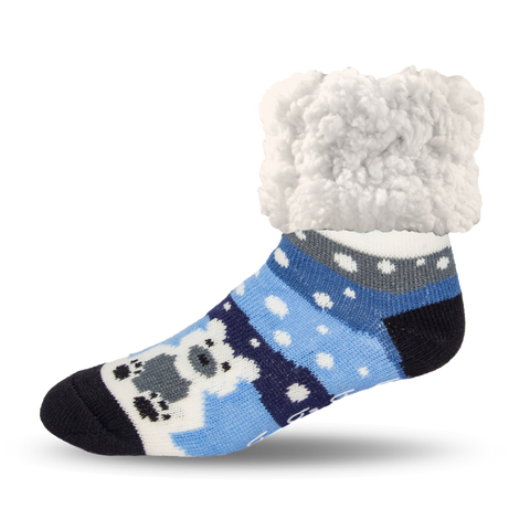 PUDUS SLIPPER SOCKS: SNOWY BLUE POLAR BEAR