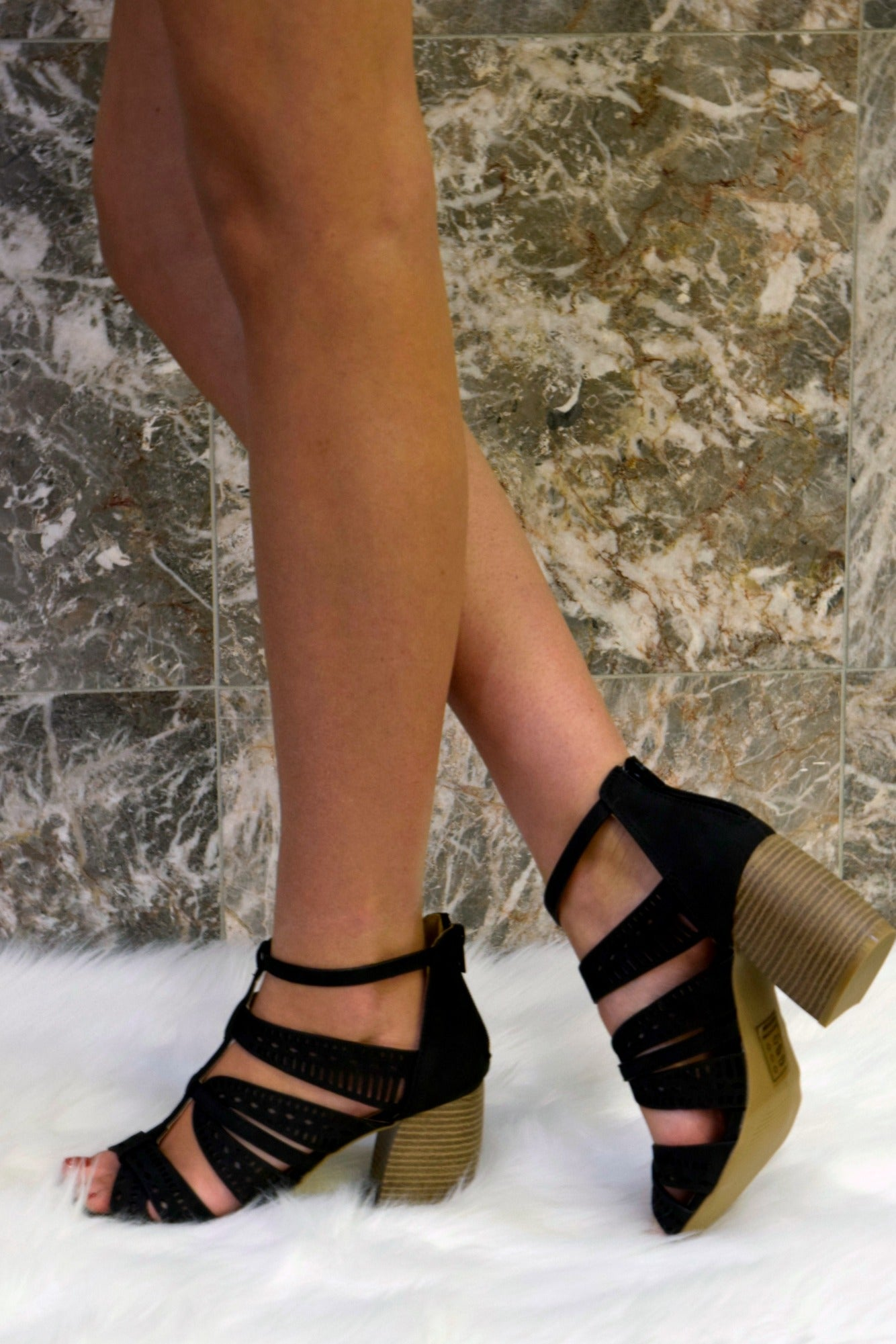ALL IN FAVOR LASER CUT BLOCK HEELS