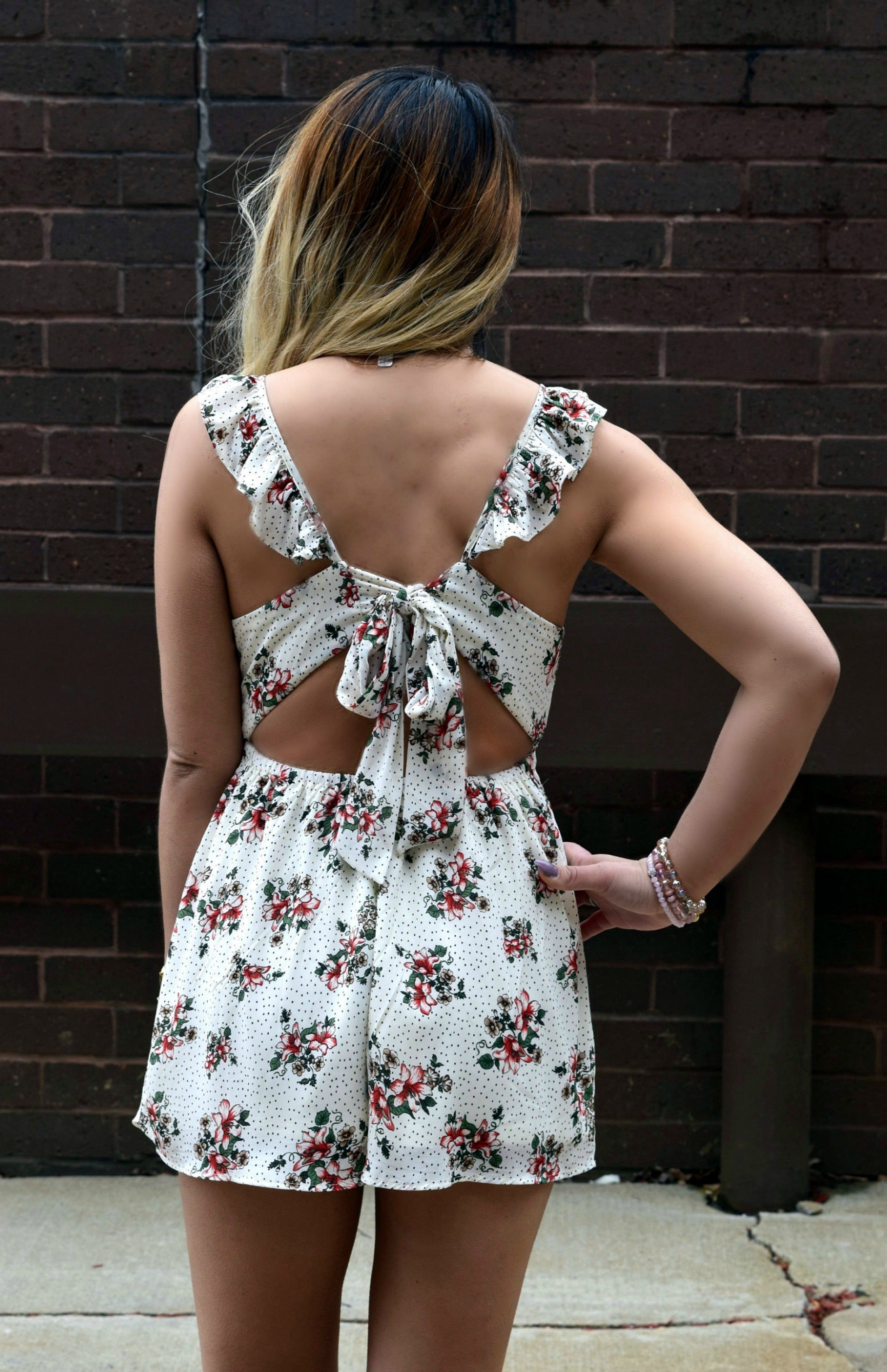 SAY YOU LOVE ME IVORY FLORAL ROMPER