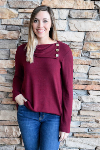 BY THE FIRESIDE BURGUNDY BUTTON SWEATER
