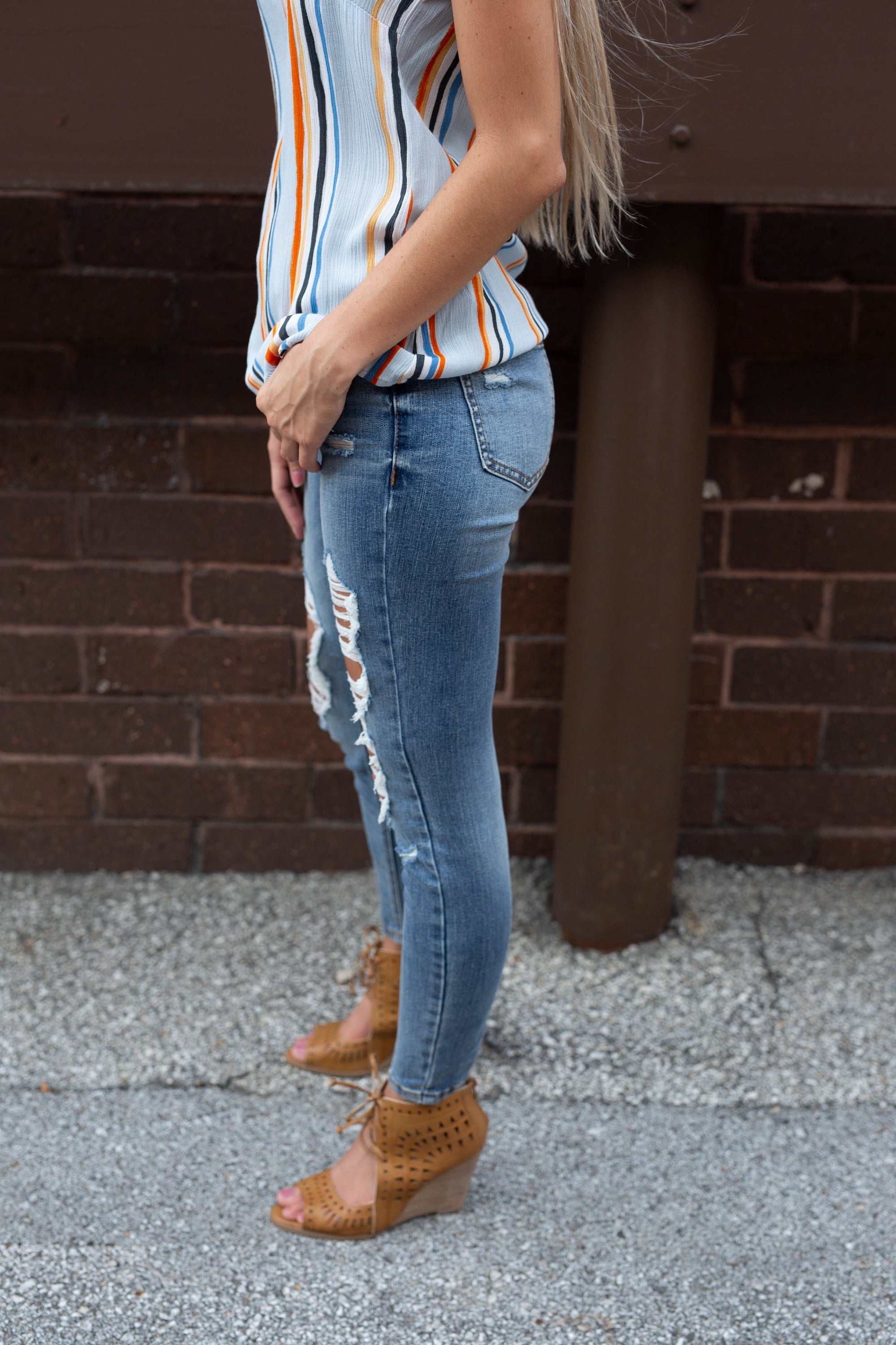 CARLEY DISTRESSED LIGHT WASH DENIM