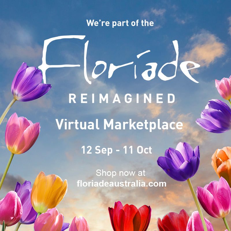 Floriade Reimagined on a background of tulips and sky