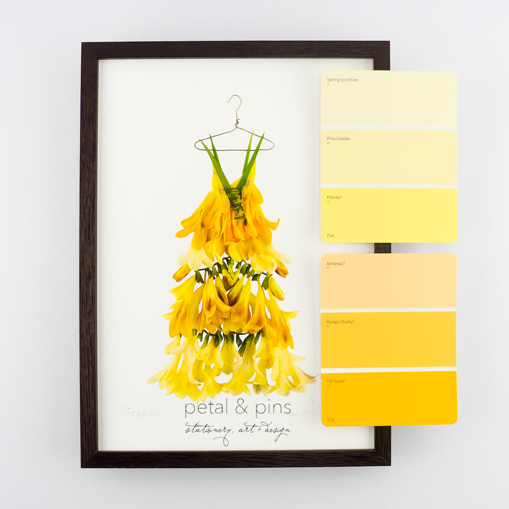 freesia dress art print by petal & pins with colour swatches