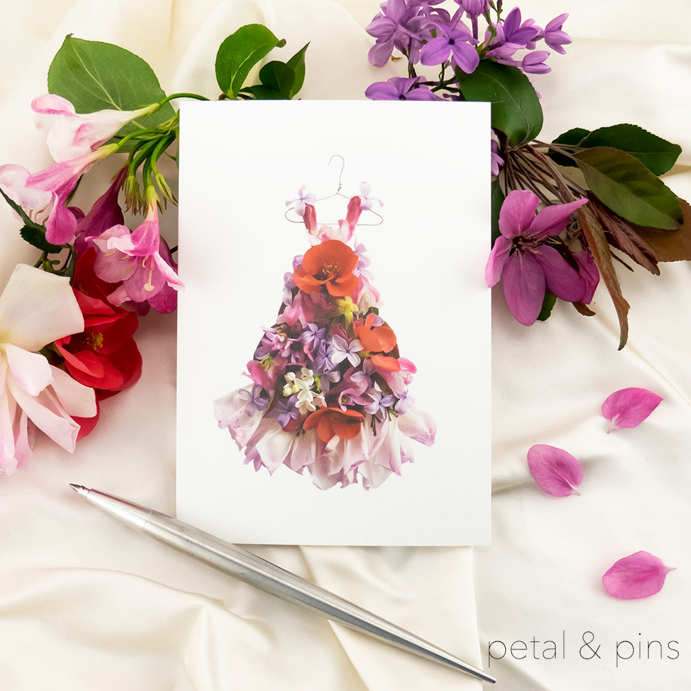 petal & pins patchwork dress card styled with pen and flowers
