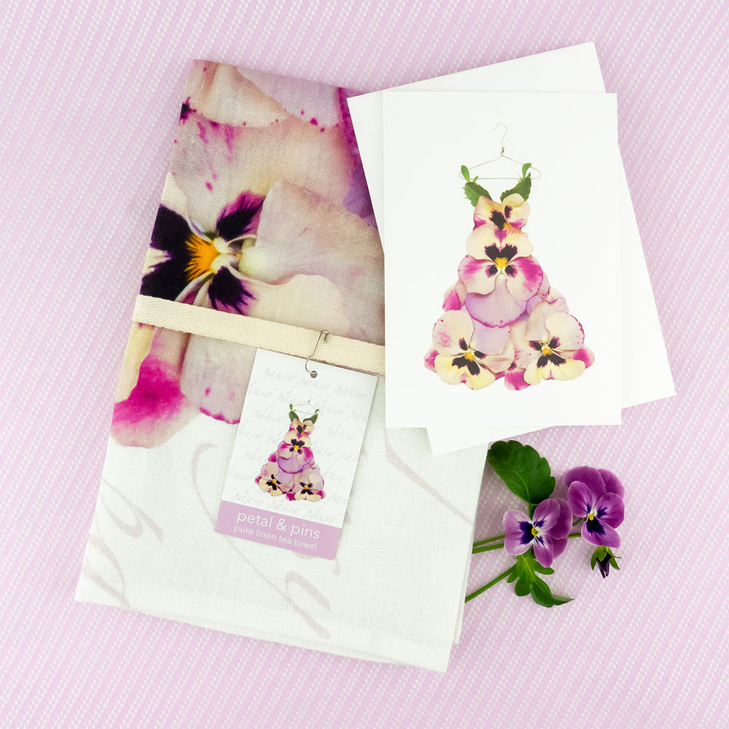 petal & pins pansy dress tea towel and greeting card