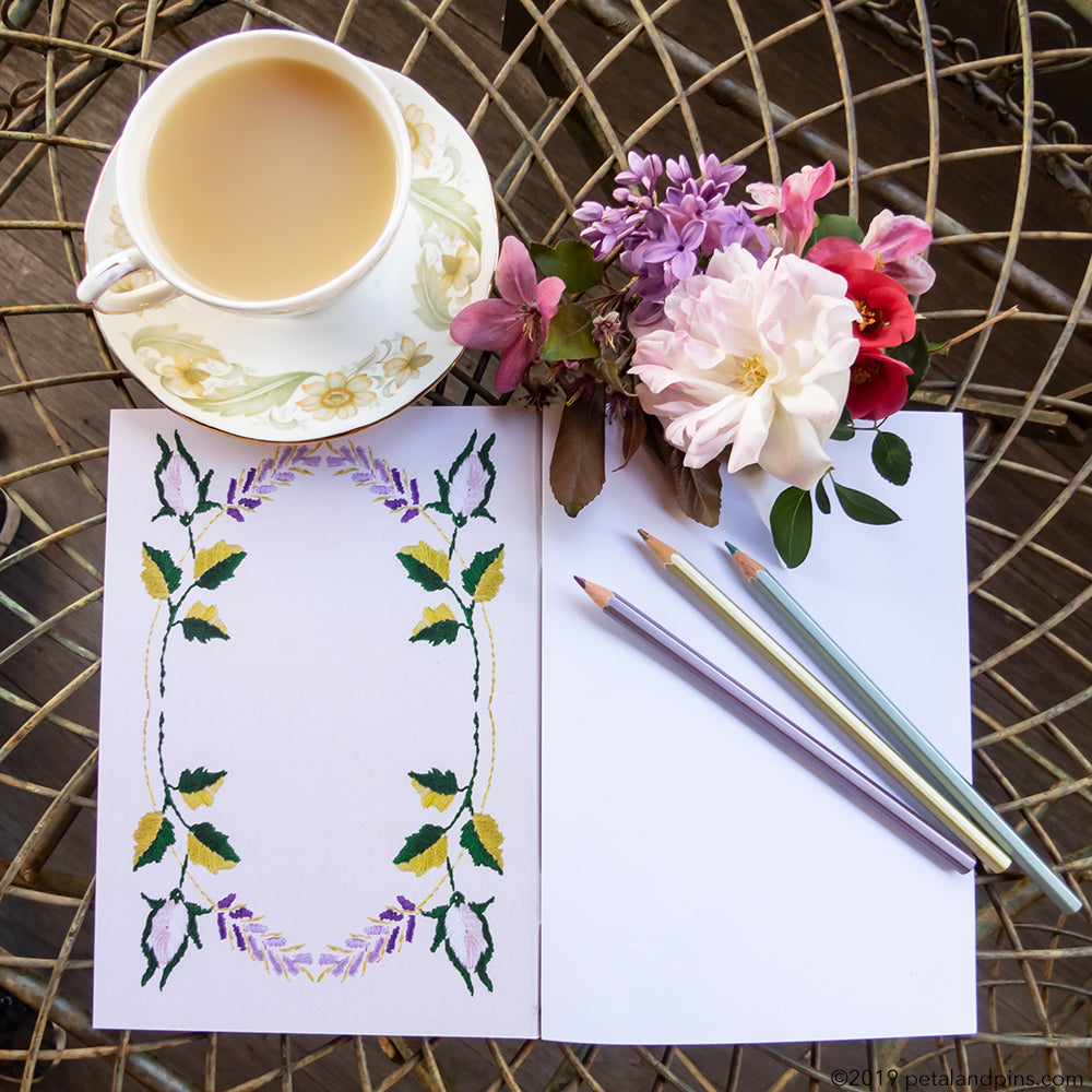 petal & pins notebook with a cup of tea and patchwork posy