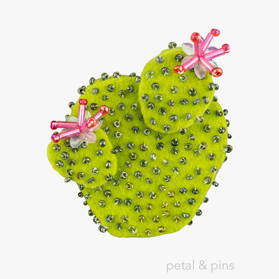 cactus brooch with hot pink flowers by petal & pins