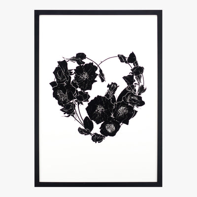 my heart's abloom noir art print by petal & pins