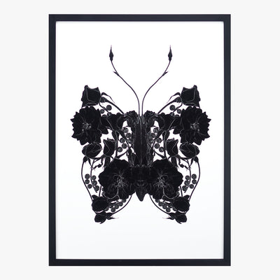 butterfly pearls noir art print by petal & pins