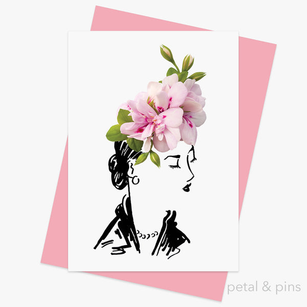 geranium hat greeting card by petal & pins