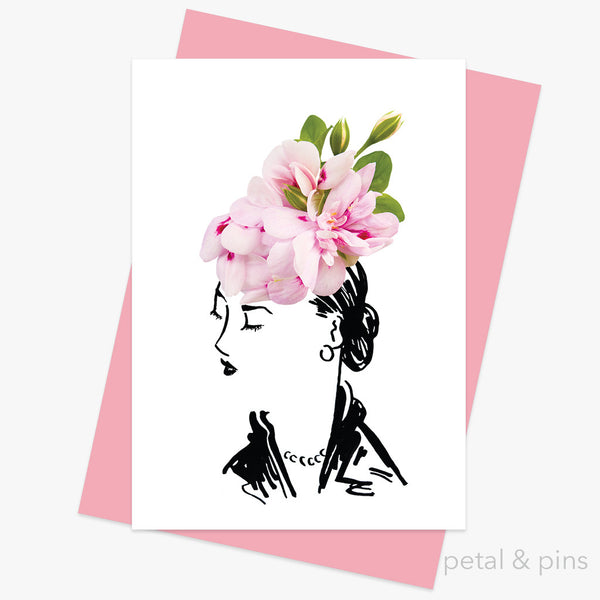 geranium hat two greeting card