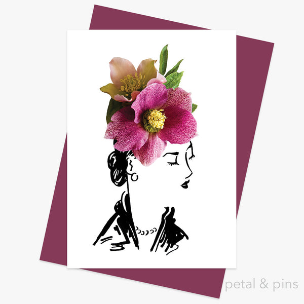 hellebore hat greeting card by petal & pins