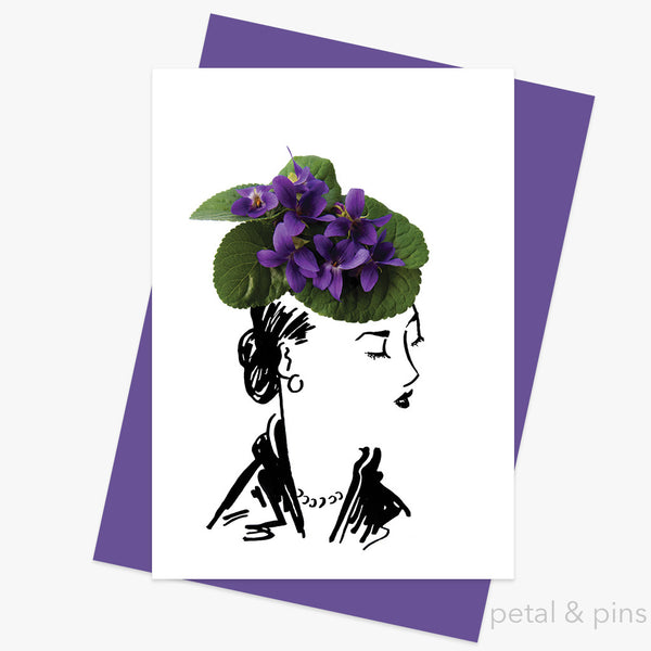 violet hat greeting card by petal & pins