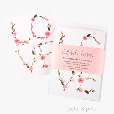 send love notecard set by petal & pins