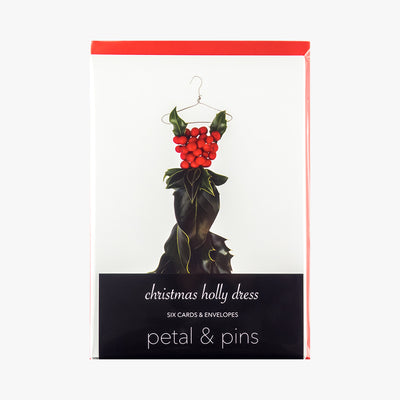 christmas holly dress style 4 cards - pack of six christmas cards by petal & pins