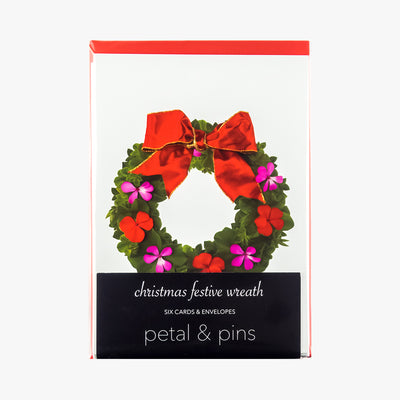christmas festive wreath cards - pack of six christmas cards by petal & pins