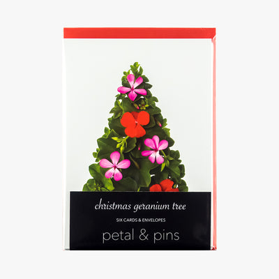 christmas geranium tree cards - pack of six christmas cards by petal & pins