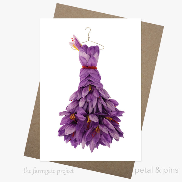 sassy saffron dress greeting card by petal & pins for the farmgate project