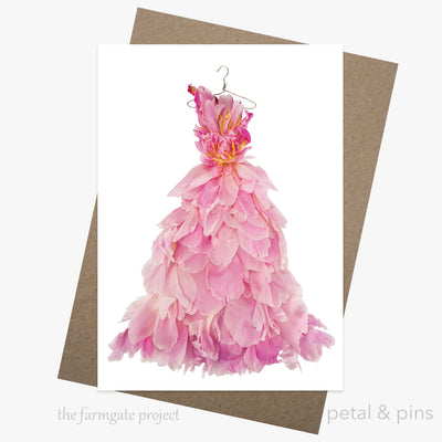 peony ballgown greeting card from the farmgate project by petal & pins
