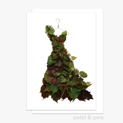 autumn grapevine dress greeting card by petal & pins