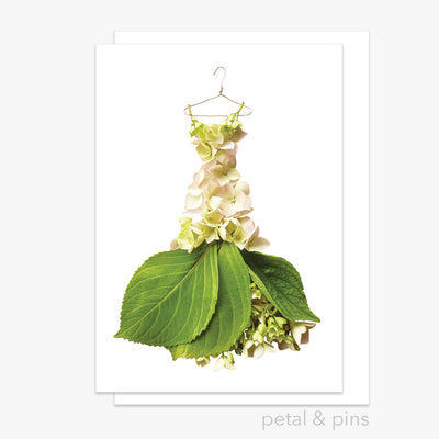 cream hydrangea gown greeting card by petal & pins