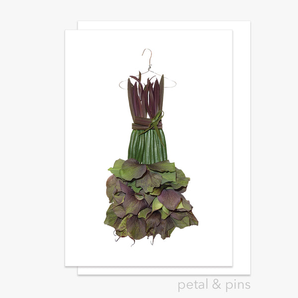 hellebore prada dress greeting card by petal & pins