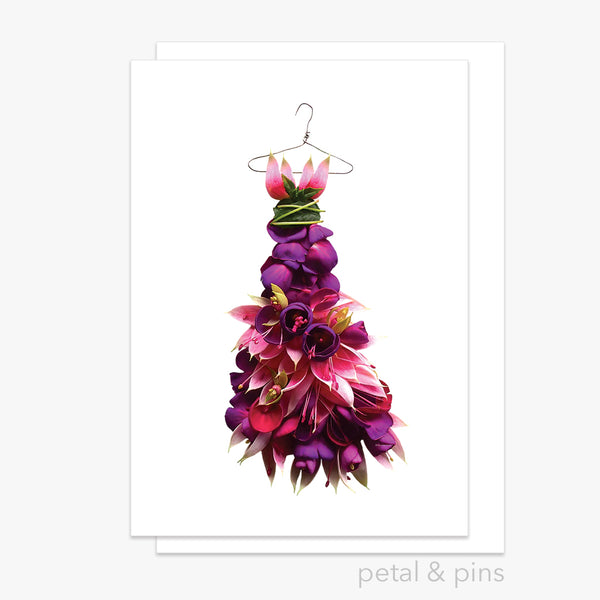 fuchsia gala dress greeting card by petal & pins