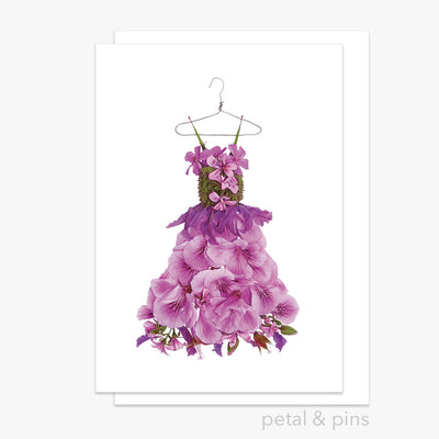 lavender & geranium dress greeting card by petal & pins