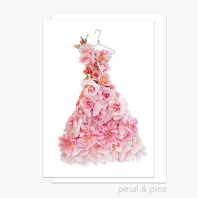 cécile brünner rose dress greeting card by petal & pins