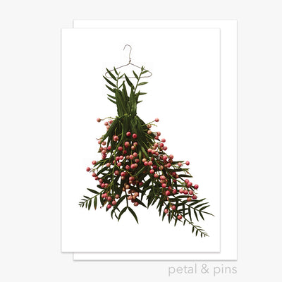 pink peppercorn dress greeting card by petal & pins
