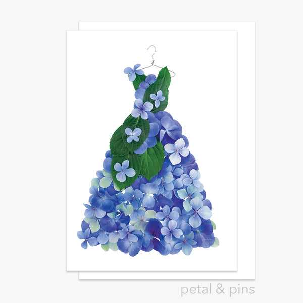 blue hydrangea dress greeting card by petal & pins