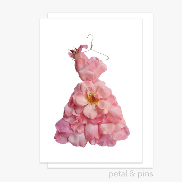blush pink rose dress greeting card by petal & pins
