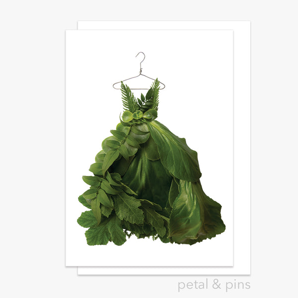 greenery dress greeting card by petal & pins