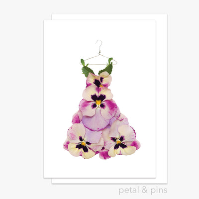 pansy dress greeting card by petal & pins