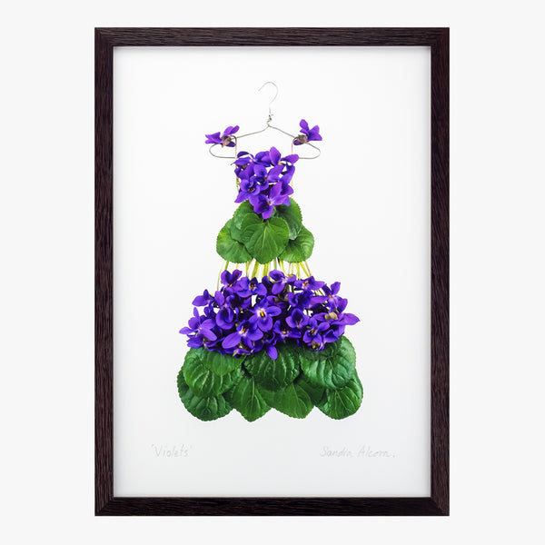 violet dress giclée art print from the Garden Fairy's Wardrobe by petal & pins
