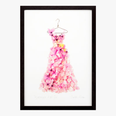 pink hydrangea high tea dress art print by petal & pins