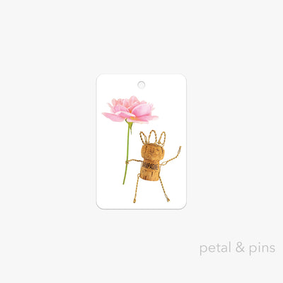 champagne girl gift tag by petal & pins