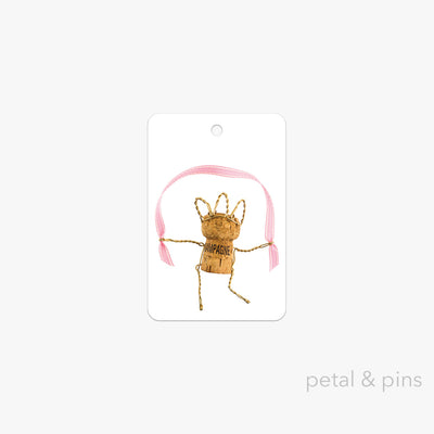 skipping champagne girl gift tag by petal & pins