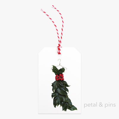 holly dress one gift tag by petal & pins