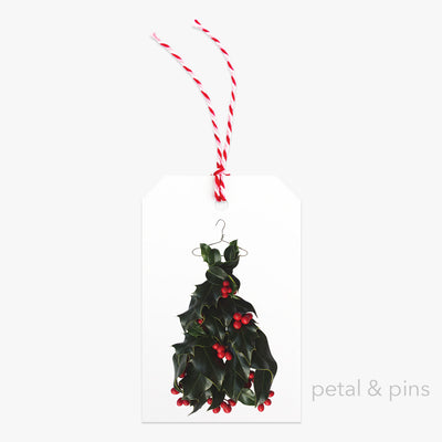 holly dress two gift tag by petal & pins